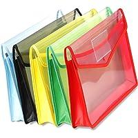 A4 Plastic Wallets Document Folder Premium Pockets Files Envelope with Snap Closure Random Color 5Pcs