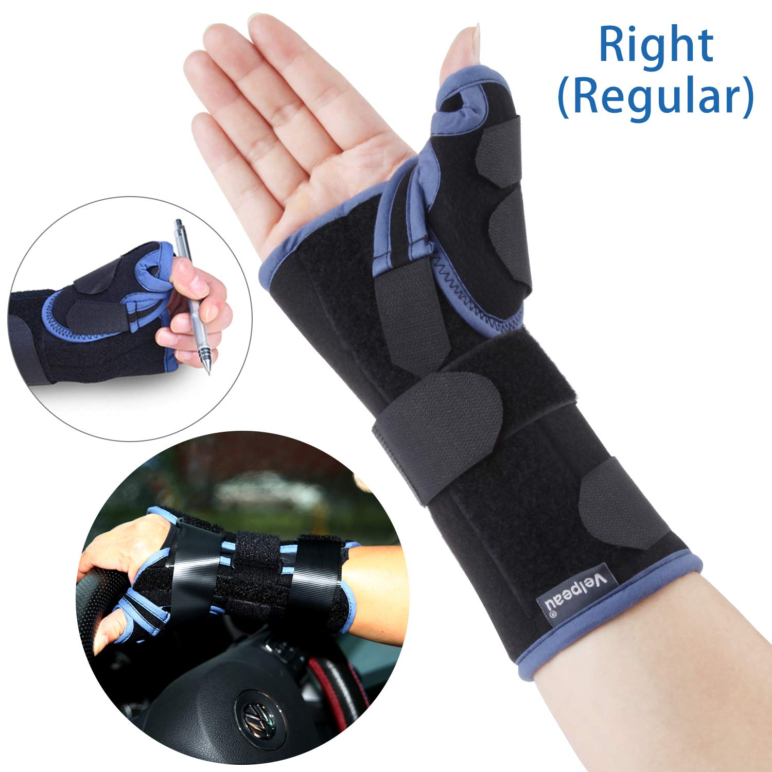 Velpeau Wrist Brace with Thumb Spica Splint Support for De Quervain's, Scaphoid Fracture, Sprain or Muscle Strain, Carpal Tunnel Relief, Injury Recovery for Men & Women (Regular, Right Hand - Medium)