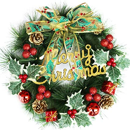 Certainpl Christmas Front Door Wreath Greenery Garland Ornament For Home Office Wedding Decor 12