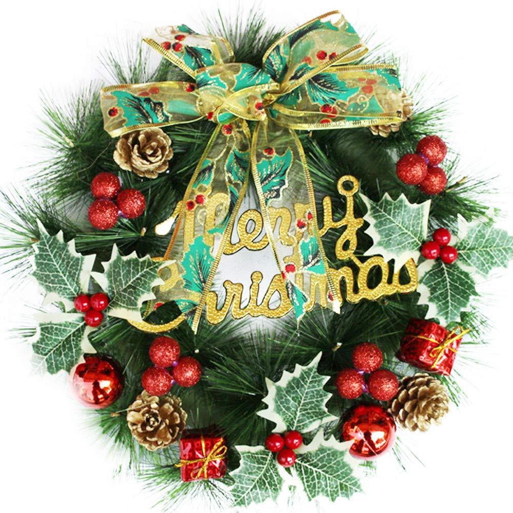 certainPL Christmas Front Door Wreath, Greenery Garland Ornament for Home Office Wedding Decor, 12''