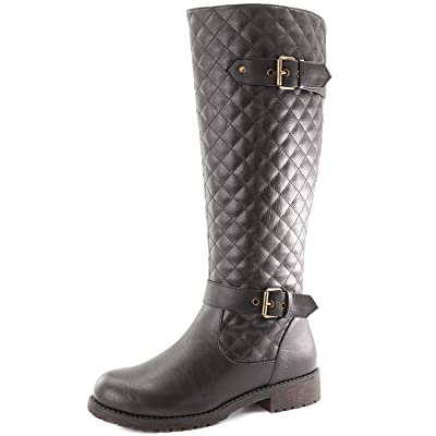 DailyShoes Women's Quilted Round Toe Knee High Combat Rider Mid Calf with Side Pocket | Knee-High