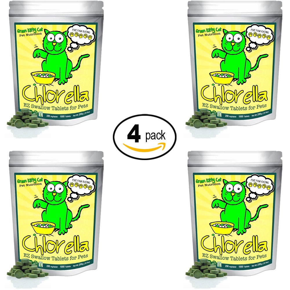 Organic Chlorella Raw Cat Food, Whole Food Topper and Natural Pet Supplement Snack. 100% Pure Chlorella Mega-Pack 1000 chewable Tablets - Net Wt. 250g by Green Kitty Cat Pet Nutrition