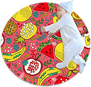 Summer Fruits Watermelon Kiwi Apple Lemon Pineapple Pattern, Round Area Rugs Circle Rugs for Kids Bedroom Play Room Carpets Rugs 27.6""