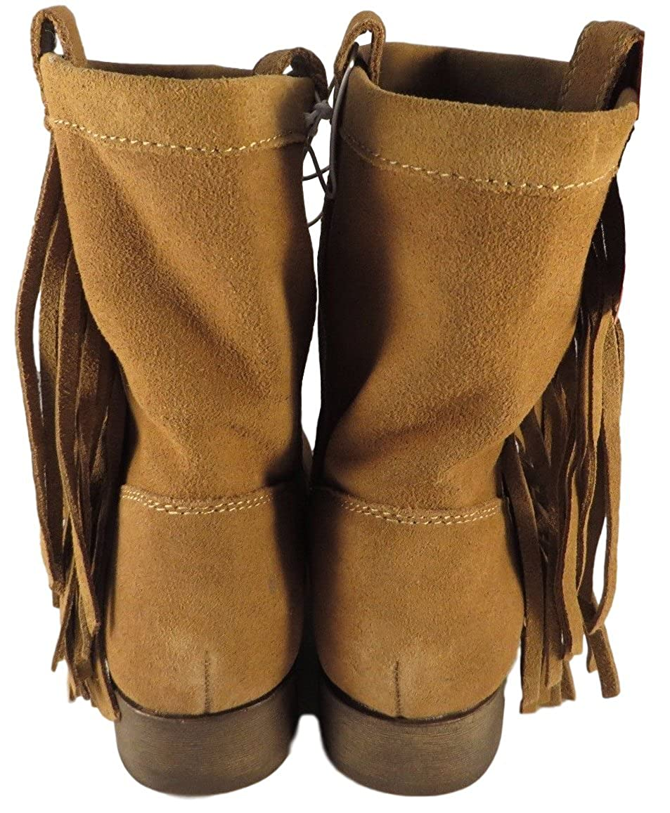 70 Post Paris Daniela Tan Suede Ankle Boot with Fringe