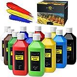 Magicfly Bulk Acrylic Paint Set, 12 Rich Colors (16 oz/473 ml) Acrylic Paint Bottles, Non-Fading, Non-Toxic Artist Quality Ac