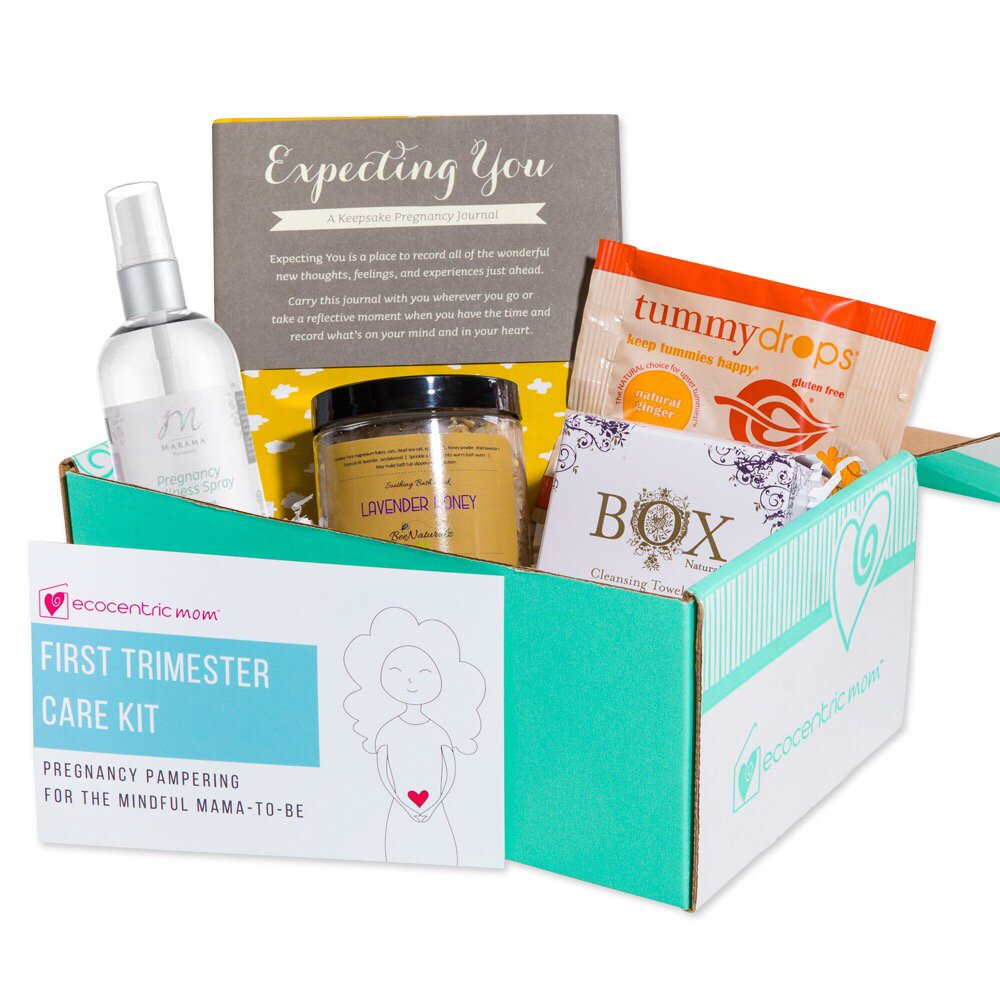 Ecocentric Mom Pregnancy Gift Box - First Trimester Maternity Gifts With Non-Toxic, Organic, Natural & Unique Products - Lavender Wipes, Bath Salts, Body Nectar, Pregnancy Journal And Tummy Drops