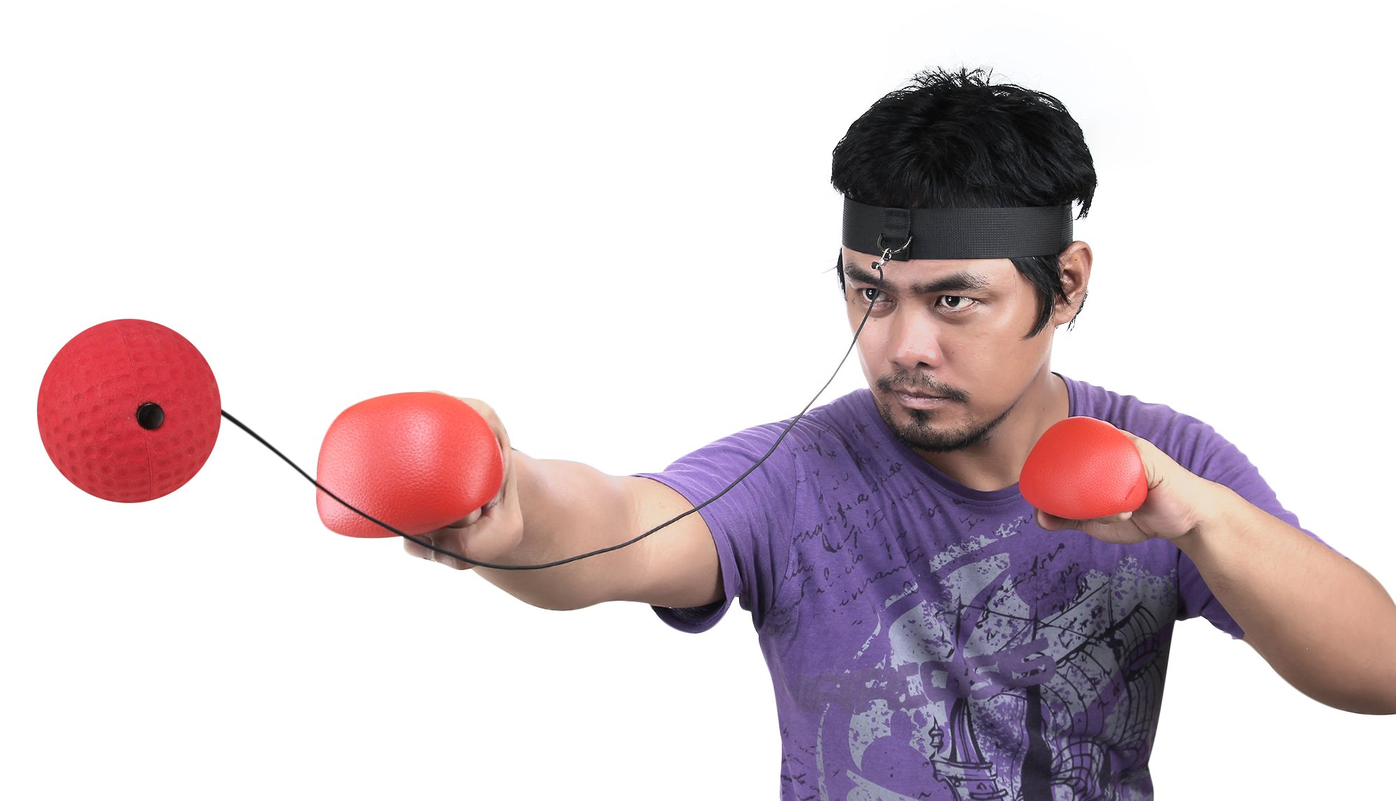 Boxing Reflex Ball - Boxing Equipment, Adjustable Head Band, Gloves, Extra String, Instruction and Repair Guide Included - Perfect For Reflex/Speed Training Improve Reactions for Kids Aswell by Punch King (Image #8)