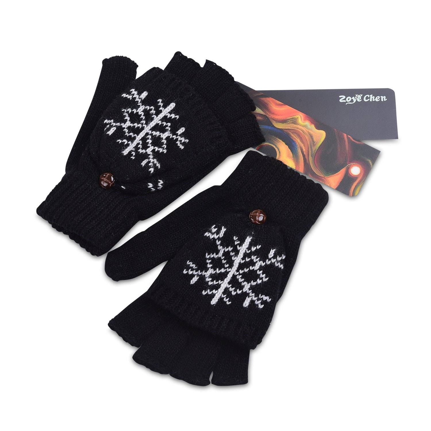 Winter's Thermal Insulation Mittens Warm Wool Knitted Convertible Fingerless Unisex Gloves (Black)