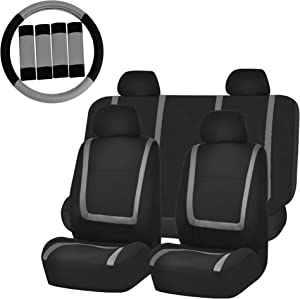 FH Group FH-FB032114 Unique Flat Cloth Car Seat Covers with FH2033 Steering Wheel Cover and Seat Belt Pads, Gray/Black- Fit Most Car, Truck, SUV, or Van