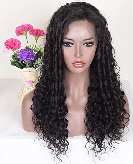 auspiciouswig rizado Full Lace Front Peluca libre parte Remy Virgin brasileño Cabello humano pelucas para las