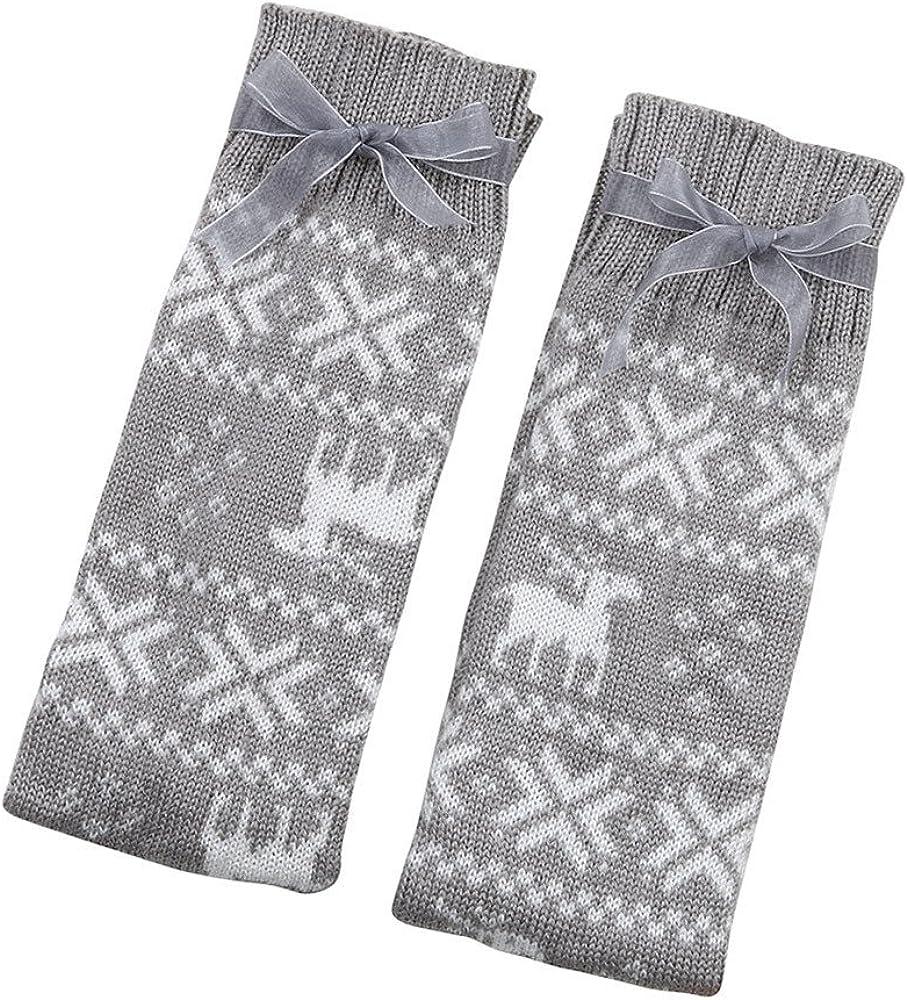 Christmas Bowknot Fuzzy Soft Knee Highs Stockings Slipper Socks DongDong☃2018 Girls Over the Knee Socks