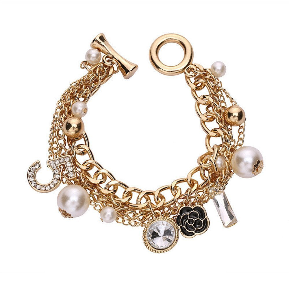 Fashion Jewelry MISASHA Logo Gold Tone Chain Inspired Charm Bracelet for Women (Camellia)