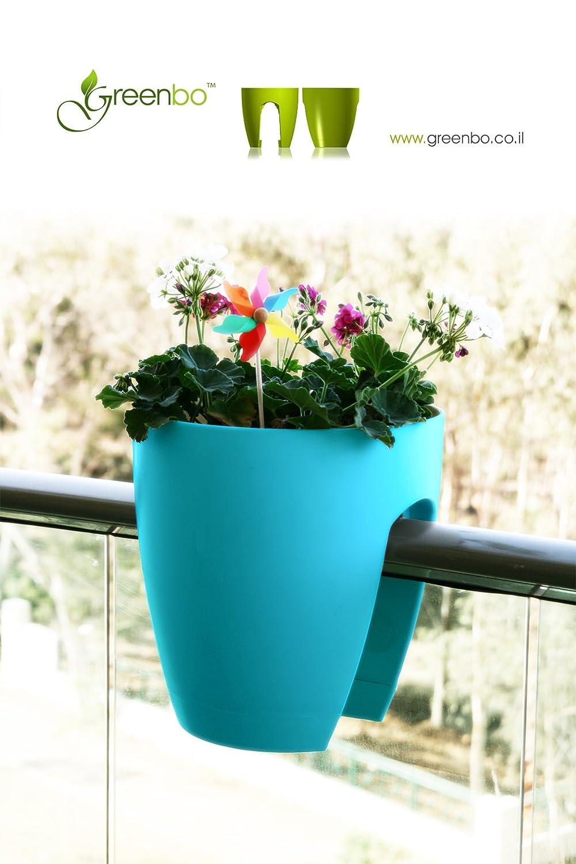 Red XL planter for balcony railing, garden fences , grow flowers ...