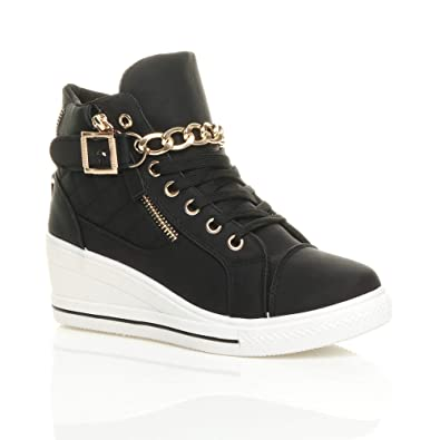 5b1fae93416113 WOMENS LADIES MID HEEL WEDGE HIGH HI TOP PLATFORM CHAIN BUCKLE LACE UP  ANKLE SHOES TRAINERS
