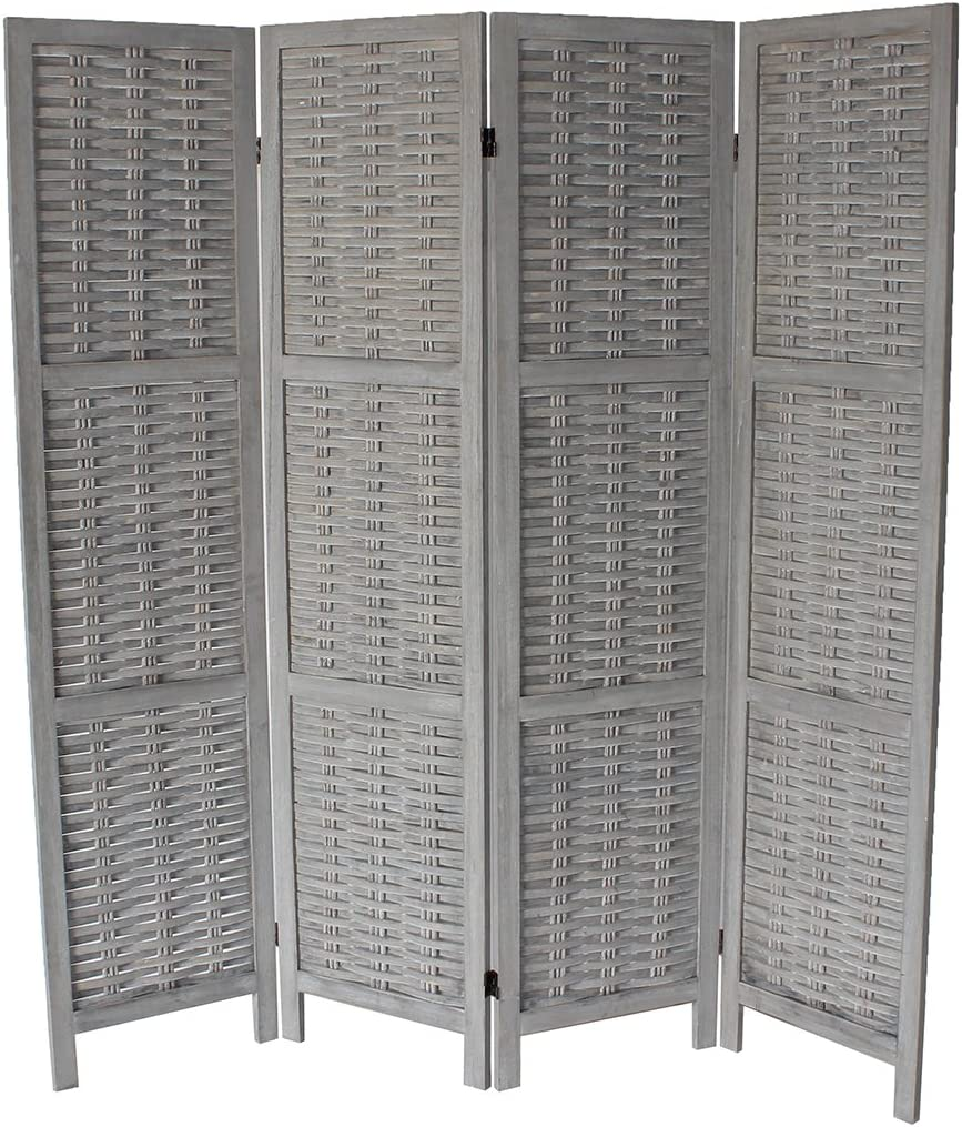 Milton Greens Stars Cole Standard 4-Panel Room Divider, Gray