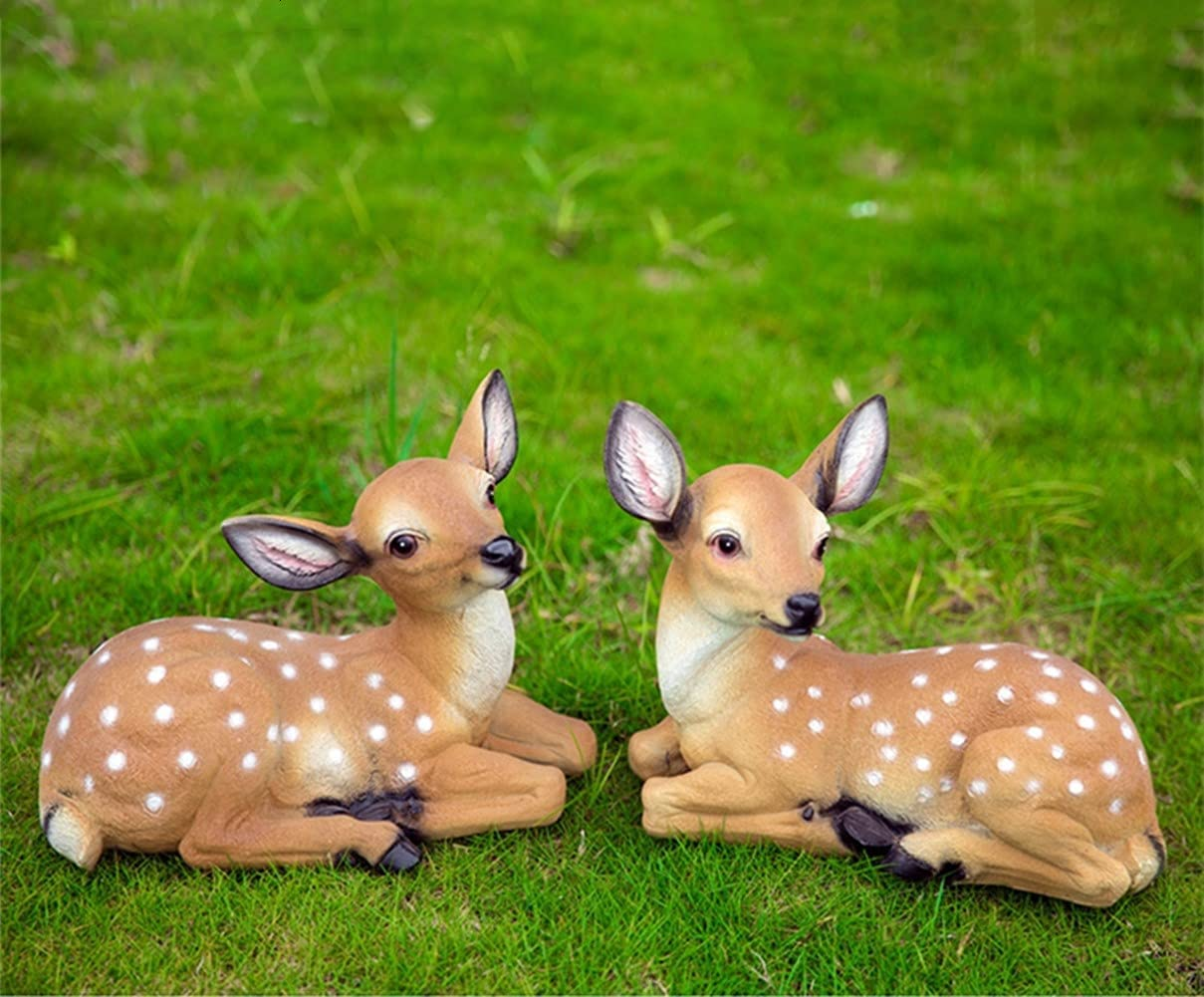 Sika Deer Garden Statues Outdoor Decor Animal Resin Crafts for Garden Decor Patio Lawn Yard Decor Home Decorations (2pcs Small Lying Deer)