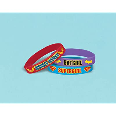 amscan Rubber Bracelet Favor | DC Super Hero Girls Collection | Party Accessory: Toys & Games