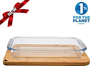 Sustainable 2.2L Glass Baking Dish with Bamboo Lid - Cutting Board - Eco Friendly Zero Plastic - Rectangle Bakeware, Casserole, Oven to Table Serving Dish - Freezer, Oven, Microwave, Dishwasher Safe