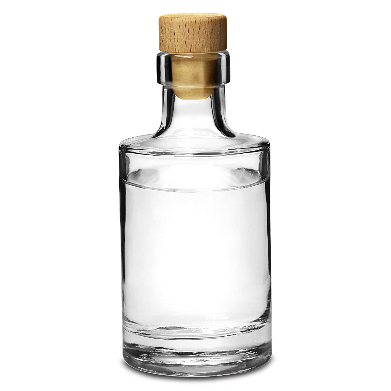 Galileo Flint Glass Bottle with Cork 7oz / 200ml - Set of 4 - Glass Bottle for Home Made Sloe Gin Drinkstuff
