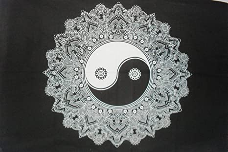 Yin Yang Floral Mandala Tapestry, colgante de pared indio, decoraciones de habitación de dormitorio