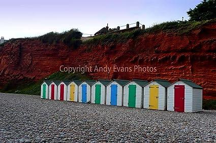 "Casetas de playa fotografía un 18 ""x 12"" fotográfico impresión DE Budleigh Salterton"