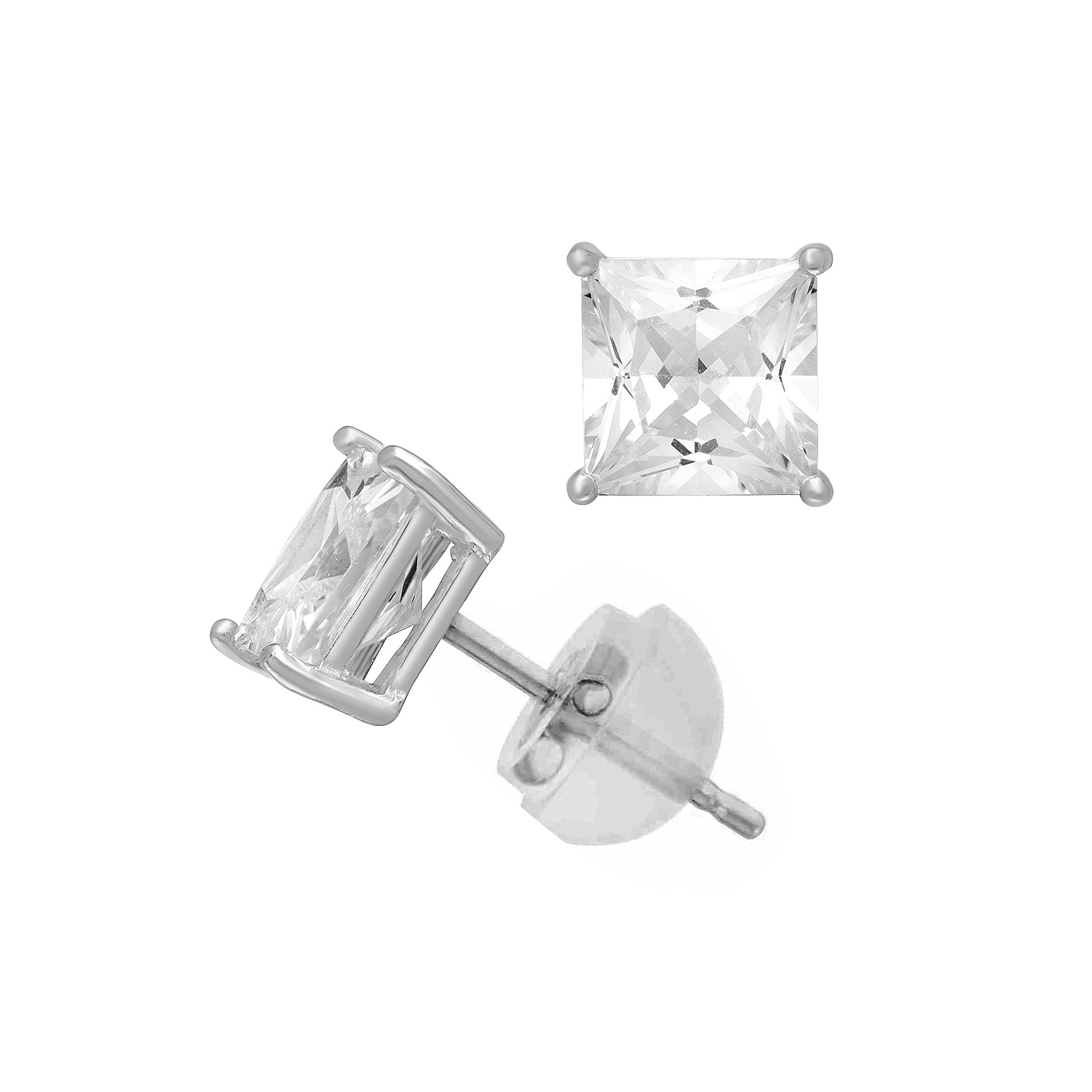 14K White Gold Swarovski Cubic Zirconia Princess Cut Stud Earring Comfort Fit -3mm