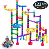 Marble Run Sets for Kids, 90 Translucent Marbulous Pieces + 32 Glass Marbles, Giant Marble Race Track Game STEM Building Blocks, Educational Construction Toys Marble Maze for Kids 4 5 6 Year Old