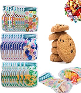 30pcs Mason Jar Bottles Bags, Mason Jars Candy Bags with Ziplock,Reusable Food Saver Storage Container Bags, Clear Flat Cello Cellophane Treat Bags for Bakery,Cookies, Candies, Gifts (5.9''x3.94'')