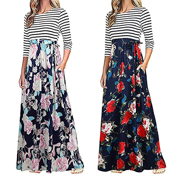 POLP Otoño Vestido Largo ◉ω◉ Estampado Otoño vestidos mujer verano Vestido Largo A Rayas