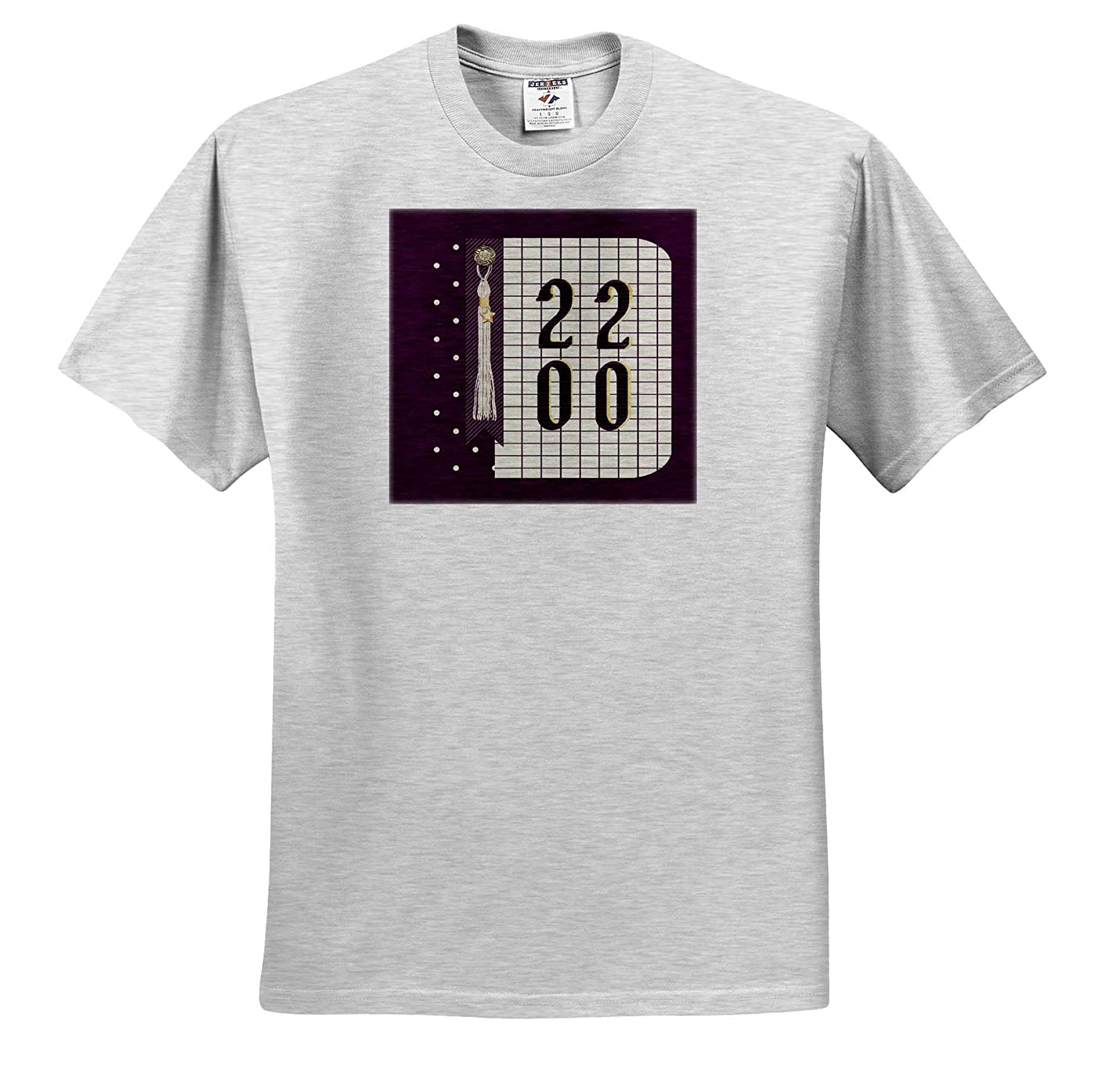 Graph Paper and Purple Image of 2020 Graduation Tassel with Star T-Shirts 3dRose Beverly Turner Graduation Design