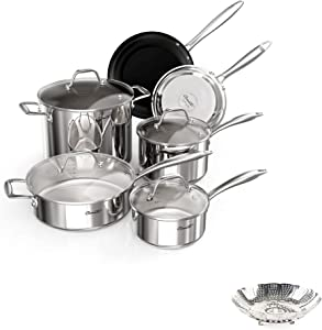 Ciwete 18/10 Stainless Steel Cookware Set 10-Piece, Kitchen Induction Pots and Pans Set with Vegetable Steamer Basket Insert