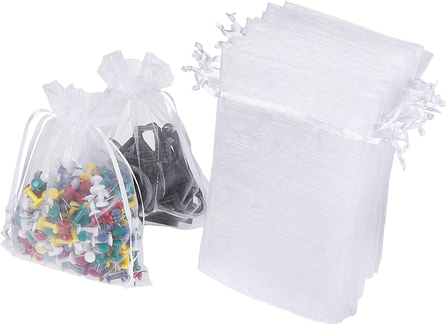 Black 200 Pieces Organza Drawstring Bags Organza Favor Pouches Sheer Gift Bags Candy Bags for Jewelry Party Wedding Party Festival 3 x 4 Inch and 4 x 6 Inch