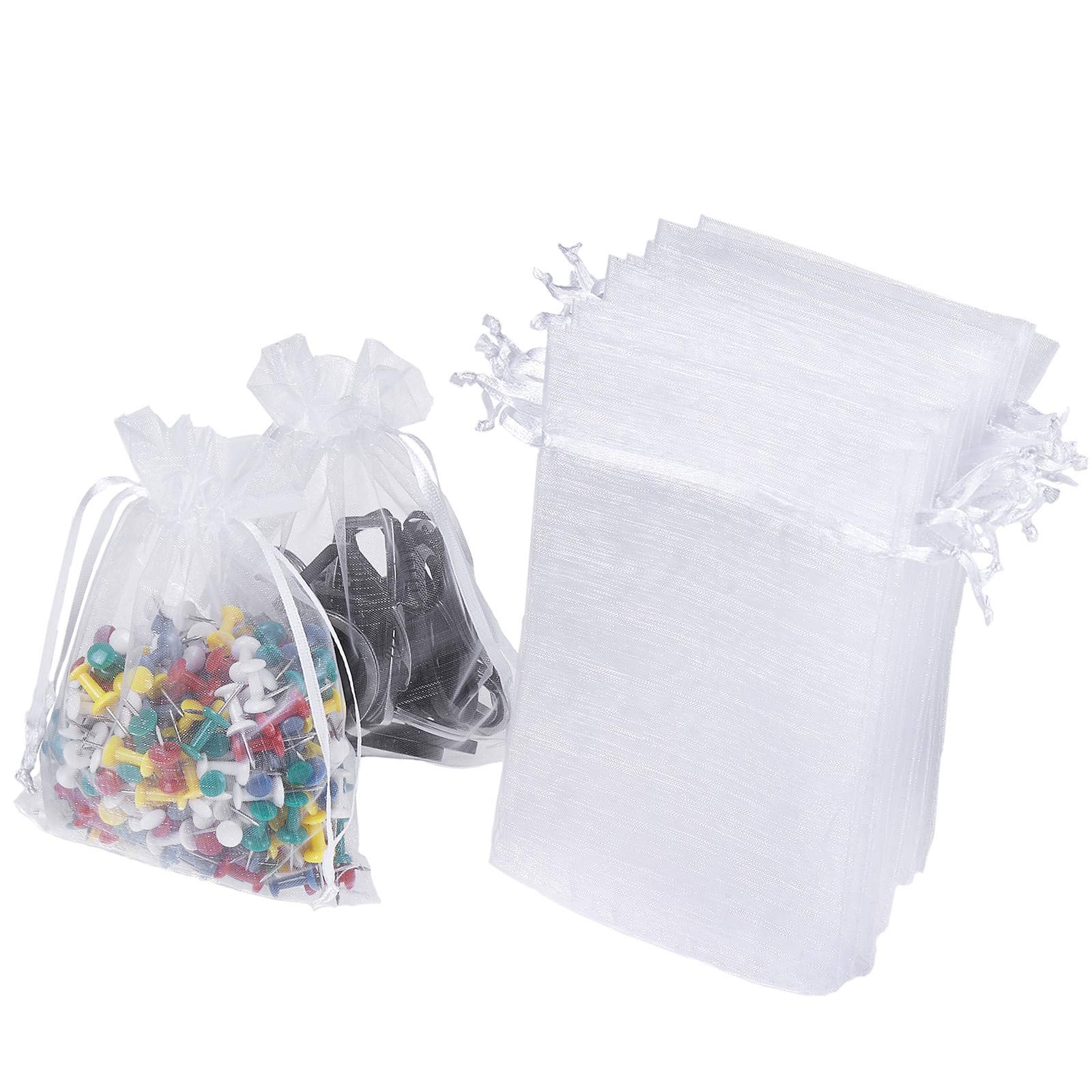 """WenTao 100PCS 4x6"""" (10x15cm) Sheer Organza Bags, White Wedding Favor Bags With Drawstring, Premium Jewelry Pouches Party Festival Gift Bags Candy Bags"""