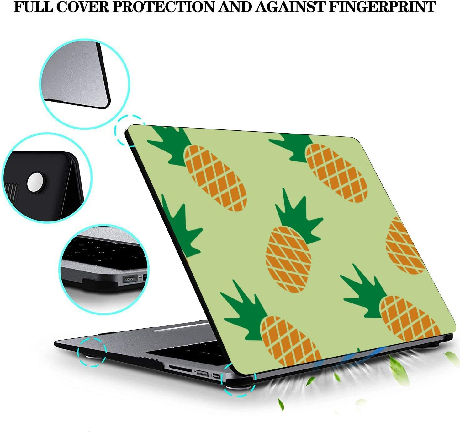 A1534 MacBook Case Summer Retro Sweet Fruit Pineapple Plastic Hard Shell Compatible Mac Air 11 Pro 13 15 MacBook Air 11 Case Protection for MacBook 2016-2019 Version
