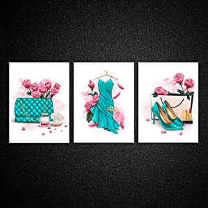 Kreative Arts Original Design Fashion Glam Art Poster Teal Handbag Dress and High Heels with Pink Roses Flower Wall Painting Canvas Prints Women Beauty Dorm Decor for College Girls Picture Set of 3