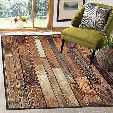 Tapete de Madera, diseño rústico con Aspecto granjoso para el Suelo, para el Exterior de 5 x 8 pies, Color marrón: Amazon.es: Hogar