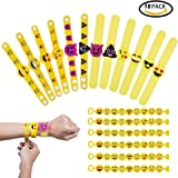 Emoji Rubber Bracelet QMay Novità Wristband Toy for Kids Party Bag Fillers Decorazioni Christmas Funny Gifts 18 Pack in 3 Style