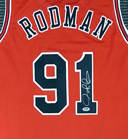 291973a263b Dennis Rodman Signed Jersey - Red Stock  141209 - PSA DNA Certified ...