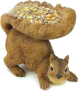 Koehler Home Decor Lovable Outdoor Accent Woodland Plump Brown Squirrel Birdfeeder