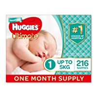 Huggies Ultimate Nappies, Unisex, Size 1 Newborn (Up To 5kg) 216 Count, One-Month Supply, Packaging May Vary