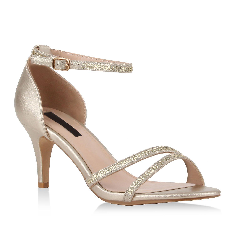 Stiefelparadies Damen Riemchensandaletten mit Pfennigabsatz Strass T-Strap Flandell Gold Metallic Riemchen
