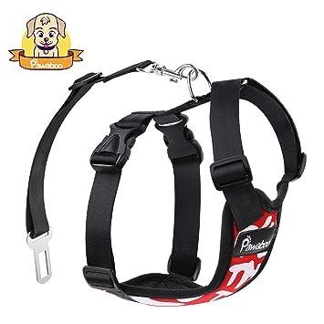 Pawaboo Dog Safety Vest Harness, Pet Dog Adjustable Car Safety Mesh