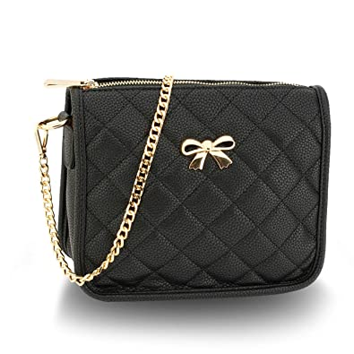 Xardi London Medium Quilted Soft Faux Leather Cross Body Bags For Women  Girls Saddle Zipped Shoulder Handbags with Long Chain Strap 0b4f817ebe33d