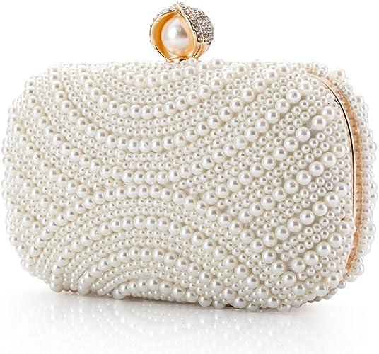Ladies Wedding Evening Party Bag Women Beaded Pearl Rhinestone Celebrity Clutch