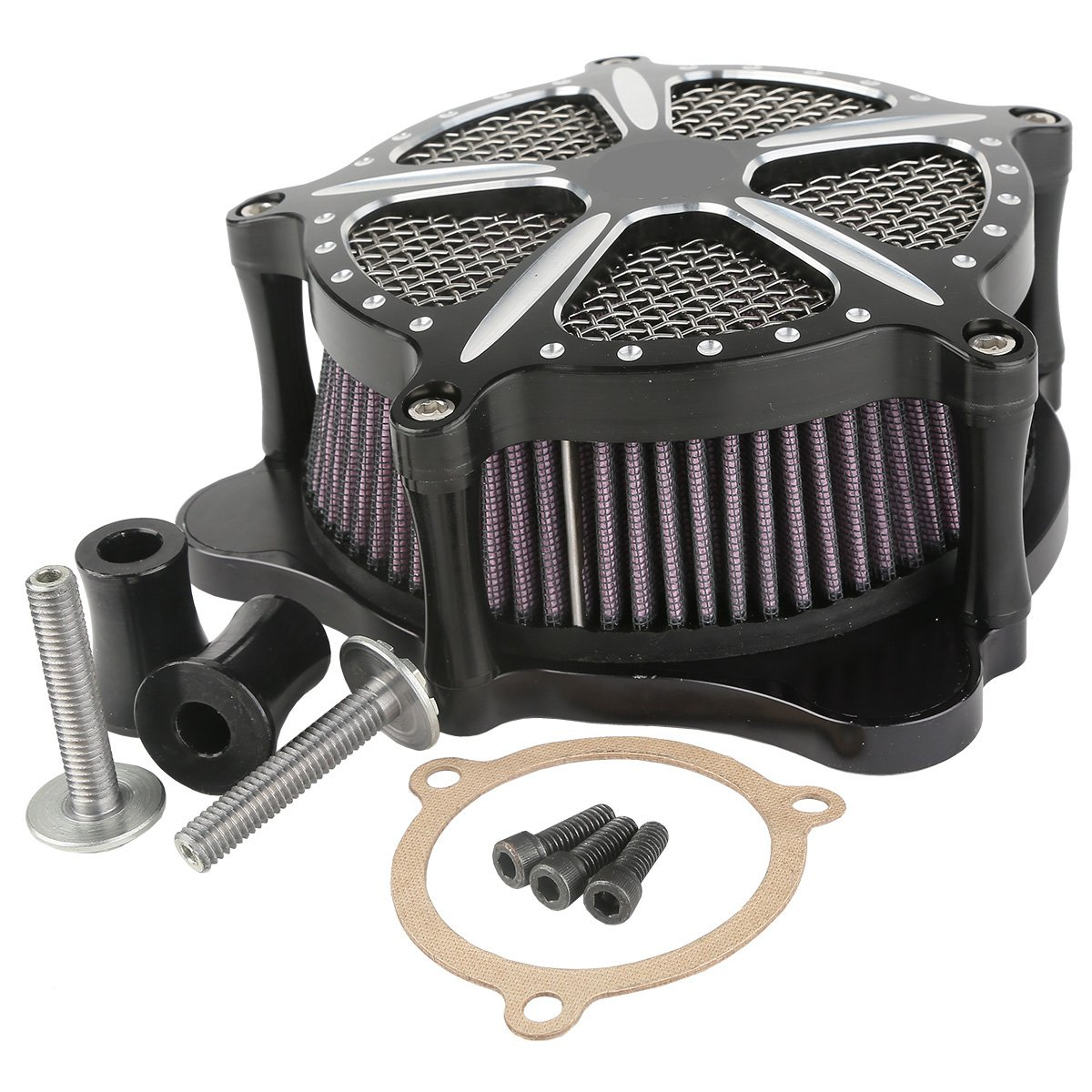 XMT-MOTO Speed-5 CNC Deep Cut Air Cleaner Filter For Harley Touring FLHR FLHT FLHX 2008-2016 by XMT-MOTO (Image #8)