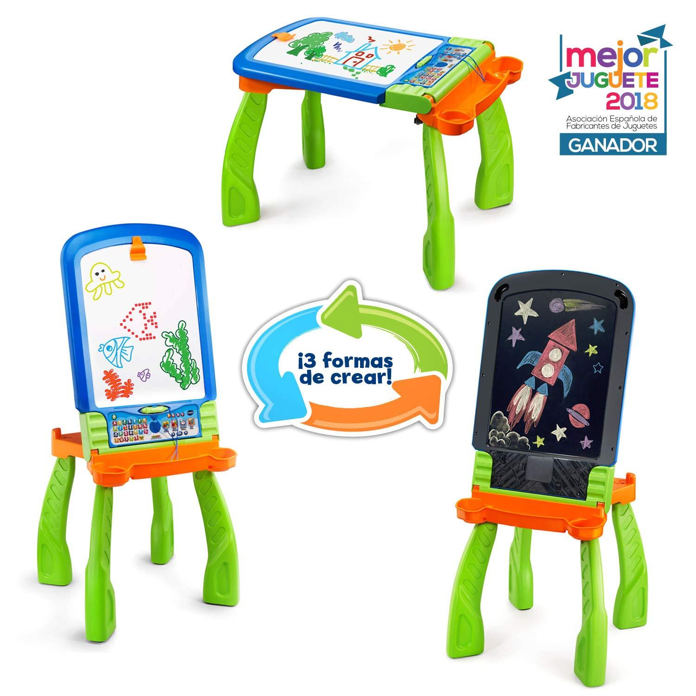 VTech DigiART - Caballete PequeARTista 3 en 1, pizarra electrónica interactiva que se transforma en tres juguetes, caballete mágico, pizarra con tiza ...