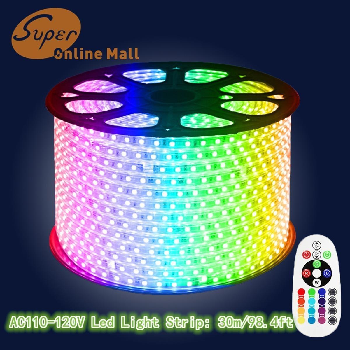 SuperonlineMall AC 110-120V Flexible Waterproof LED Strip Lights, 30m/98.4ft - RGB