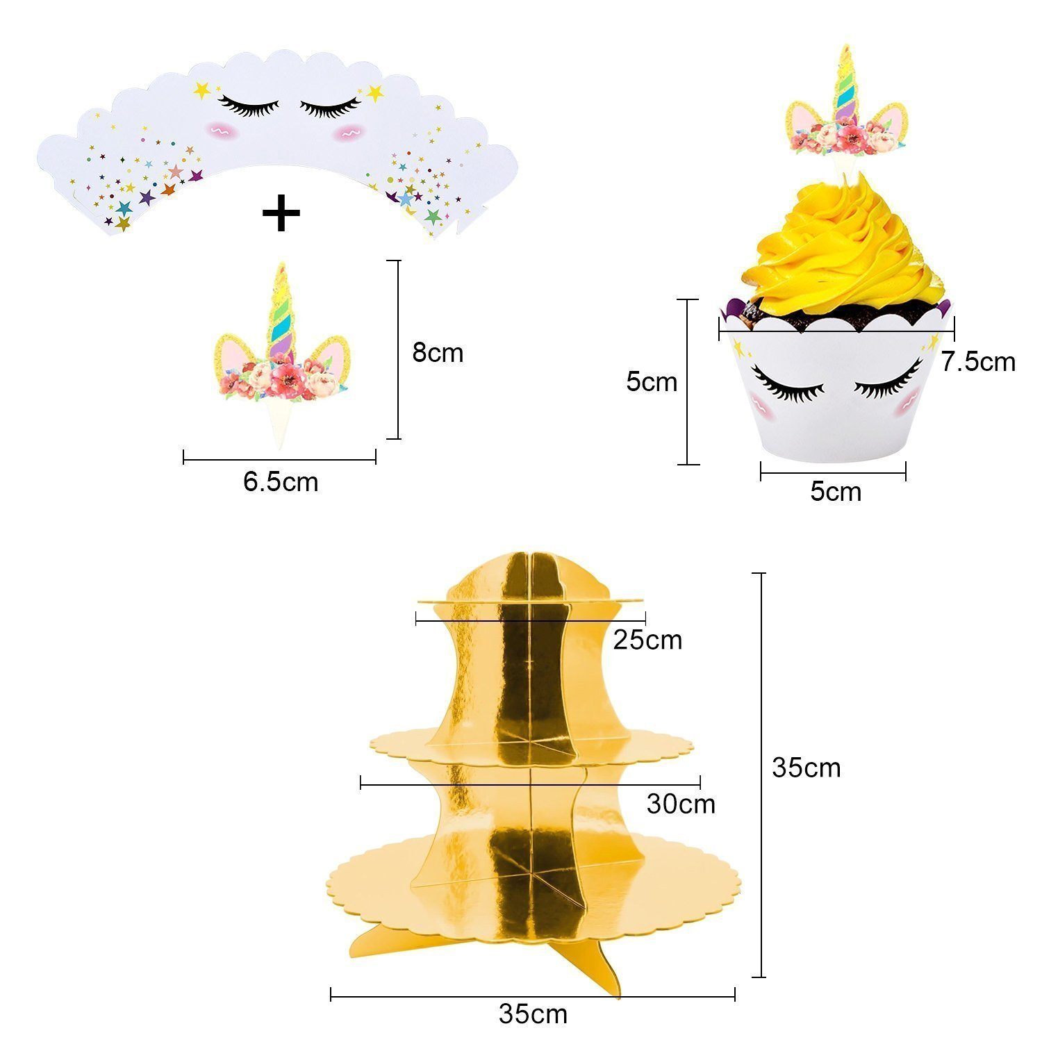 Rainbow Unicorn Cupcake Toppers and Wrappers w BONUS Gold Cupcake Stand - Themed Glitter Horn Cake Topper + Rainbow Wrapper DIY Baking Decorations Kit, Kids Birthday Party Supplies Accessories| 48pcs by Quality Party Supplies (Image #4)