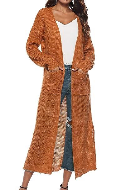 afc27a97ecc725 ... Autunno Inverno Giubbotto Elegante Leggero Maglioni Top con Spacco Capispalla  Ragazza Giacche Oversize Trench Jacktet Outwear: Amazon.it: Abbigliamento