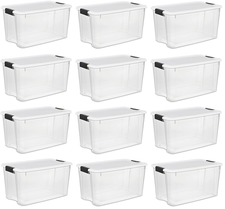 Sterilite 19859806、30 Quart/28リットルUltraラッチボックス、クリアwith aホワイト蓋、ブラックラッチ、6パック 30 Quart, (12-Boxes) B078GBJ6KP